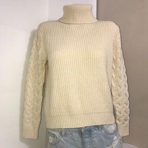 Forever 21 Cream Turtleneck Acrylic Knit Sweater